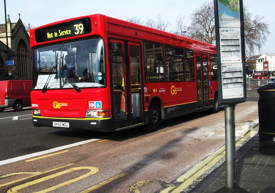 red bus not in service